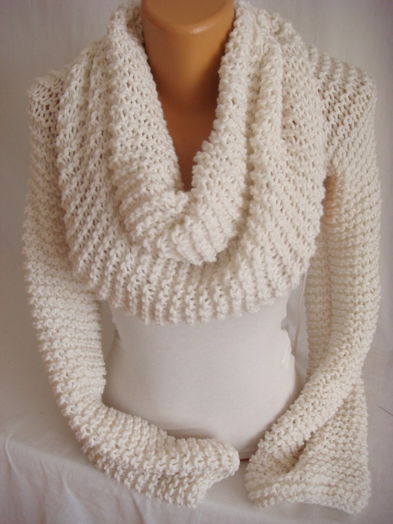 Hand Knit Cozy Wrap Neckwarmer Scarf Shawl Bolero Shrug Shawl