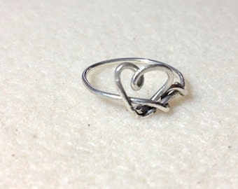 Heart Wrapped Sterling Silver Ring - Silver Heart Ring - Silver Ring