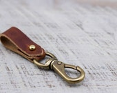 Leather Keychain Belt Snap // Horween Leather Rust Dublin // Antique Brass Hardware