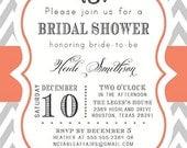 Gray and Coral Chevron Monogram Modern Elegant Bridal Shower Baby Shower Birthday Invitation
