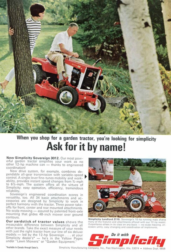 1960s Simplicity Lawn Tractor Mower Ad Port Washington