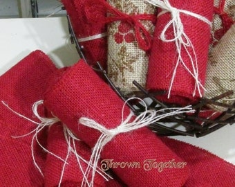 "Burlap Ribbon 6"" Wide Red Burlap Garland-Chair Sash-Burlap Bows-Christmas Decor-Wedding"
