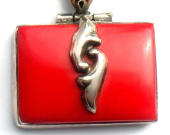 Red Necklace Italy Sterling Silver Chain Art Deco Pendant Jewelry Mystery Red Vintage For Women