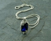 Blue Sapphire and Fine Silver Pendant Necklace