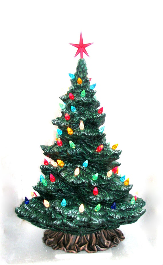Large Modern Ceramic Christmas Pine Tree 18 19 Inches Tall