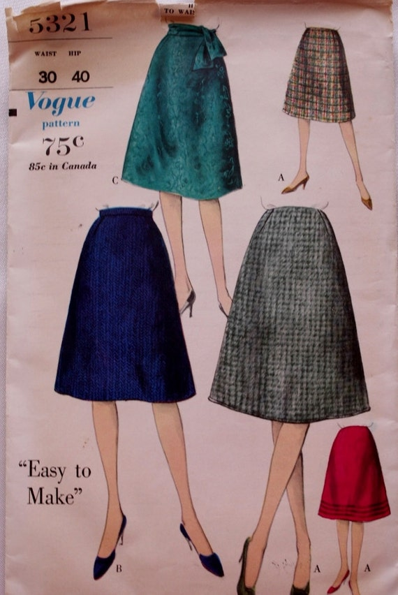 1960s flared skirt sewing pattern waist 30 by