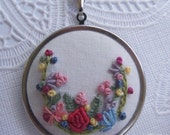 Hand embroidered fabric necklace embroidered garden french knots ready to ship