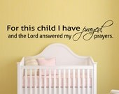 For this Child I Prayed Nursery Art Wall Decal Quote Religious Sticker Religious Wall Decal Vinyl Art
