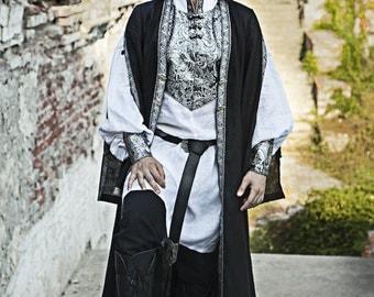 DISCOUNTED PRICE! Mens Medieval Surcoat; mens overcoat; hanging sleeve garb; mens medieval garb