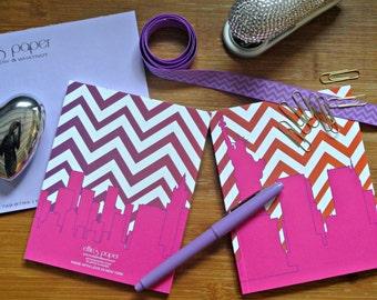 Journal Notebook Jotter Chevron New York City Skyline Pink Purple Preppy Notebook