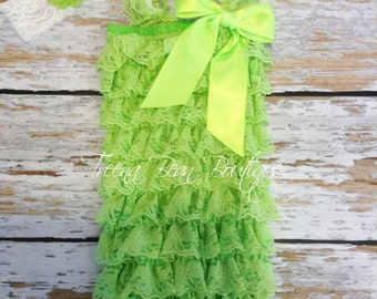 Lime Green Lace Petti Romper, Lace Romper, Petti Romper, First Birthday Outfit, Baby Romper, Romper, Baby Outfit