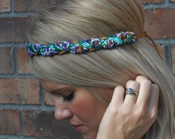 Braided Boho Headband Hippie Turquoise Sparkle