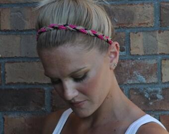 Braided Boho Headband Hot Pink & Black Crochet
