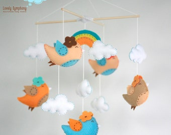 Miami birds : Birds baby crib mobile- Birds hanging mobile - birds and rainbow