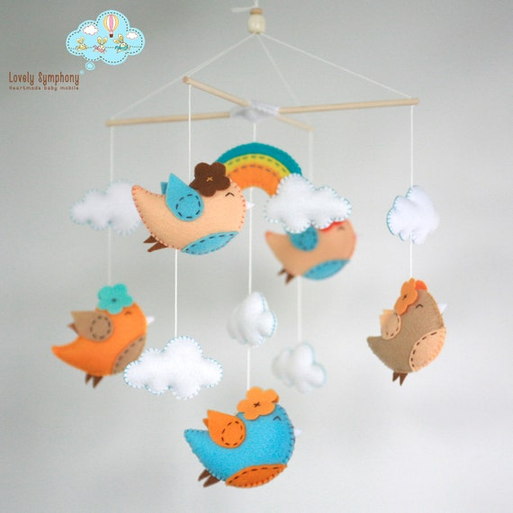 Miami birds : Birds baby crib mobile- Birds hanging mobile - birds and rainbow