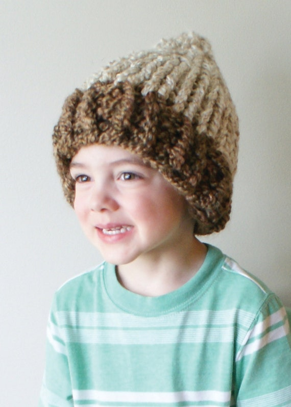 Knitting Pattern For Acorn Hat : DIY Knitting PATTERN Chunky Acorn Hat in Toddler Child and