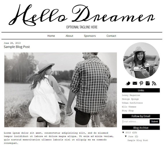 DIY Hello Dreamer Design / Customizable Blogger Template Design