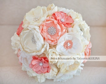 Brooch bouquet. Coral and Ivory wedding brooch bouquet, Jeweled Bouquet. Made upon request