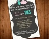 Printable Gender Reveal Party Invitation. Tutus or Ties. Gender Reveal Party.