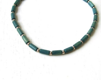 MARTINIQUE - Necklace for men Carribbean Beach Tribal style Denim Blue Wooden beads & alloy beads
