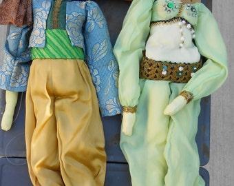 Extraordinary Pair of Handmade Puppets Ali Baba Genie Arabian Nights