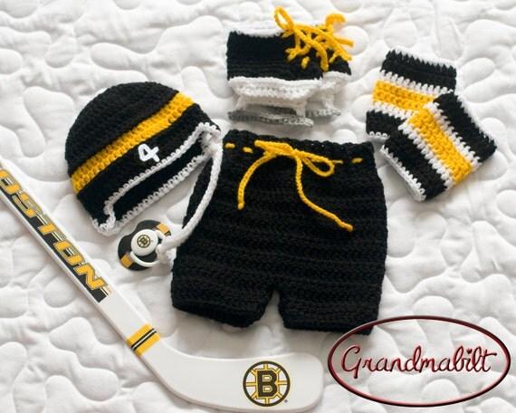Baby Hockey Boys Crocheted Helmet Hat Pants Socks By