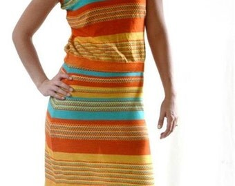vintage  ITALIAN knit sleeveless maxi vibrant stripe SKIRT Top DRESS  L