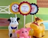 Barnyard  CupcakeToppers , Farm Animals Cupcake Toppers