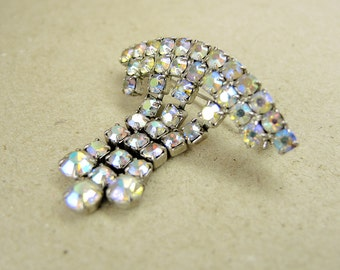 Vintage Metal Brooch with iridescent crystal