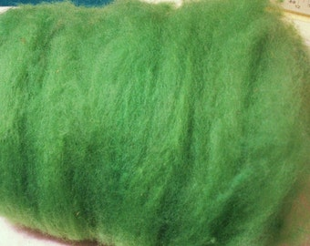 dusty GREEN, Carded Sheep WOOL batt, ROVING, felting, spinning