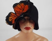 Cloche Felted Hat Butterfly Hat Cloche hat Flapper Hat Surreal Designer Hat Black Hat Art deco hat Retro hats Nunofelt Nuno felt
