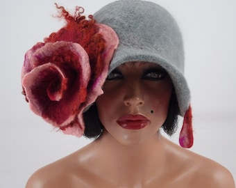 Felted Hat Cloche Hat grey Flapper hat LA BELLE EPOQUE wearable art art deco wool felt nunofelt nuno felt silk
