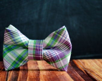 Men's Self-Tie Freestyle Pre-Tied Bow Tie - Green Lavender Purple Plaid