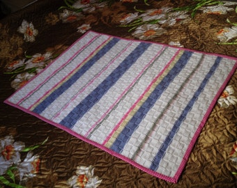 Knitted baby blanket, stripey blanket, multi coloured blanket