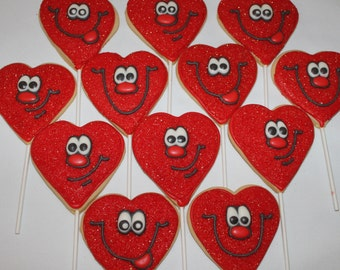 smiley face hearts decorated sugar cookie favors 1 dozen 12 love valentines day