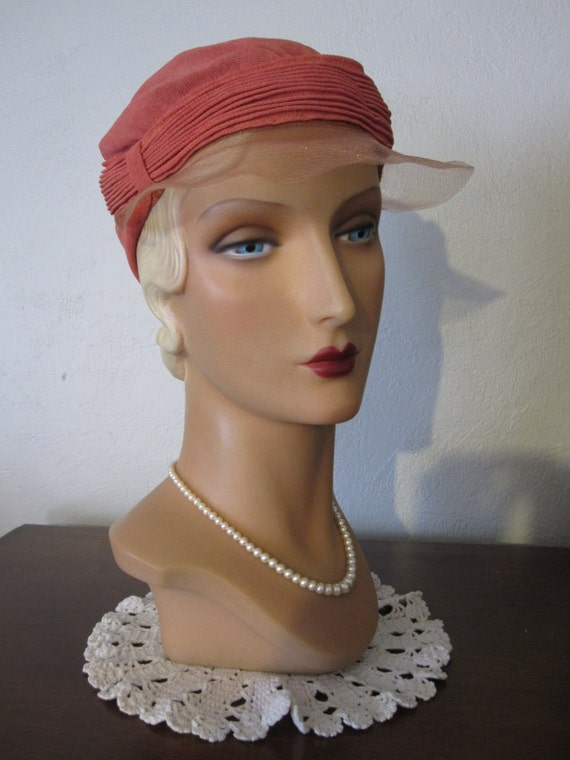 SUMMER SALE - Rosalie - 1920's Pink Sun Hat Cloche with Horsehair Visor
