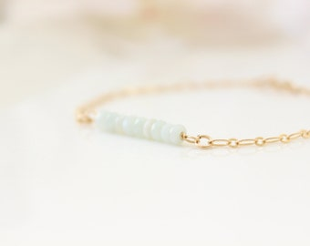 Dainty gold bracelet with amazonite gemstone beads, Gift for her