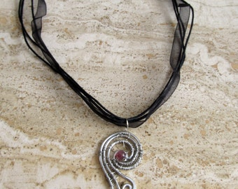 Angel Wing Necklace Wing Pendant Wire Wrapped Feathers Silver on Black Ribbon