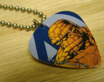 The Thing Guitar Pick Necklace with Stainless Steel Ball Chain - Marvel Comics