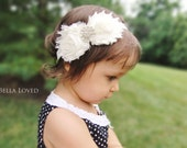 Ivory Baby Headband - Baby Girl Headband - Ivory Newborn Headband - Newborn Photo Prop