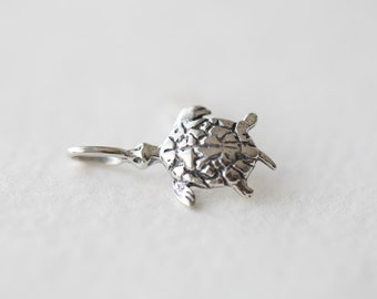 Sterling Silver Turtle Charm - lightly oxidized 925 silver turquoise pendant with loop