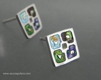 Enamel Sterling Silver Earrings,THE 4 SEASONS,925 Silver, Glass Enamel Earrings.Contemporary Jewelry.Design Nature Earrings by Asun Aguilera