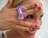 Sequined Bow Ring - Cute Colorful Bow Ring - Purple - Blue - Pink - Fun Jewelry
