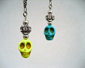 Colorful Skull Necklace - Dia De Los Muertos Jewelry - Rhinestones And Skulls - Day Of The Dead Necklace - Turquoise - Chartreuse - Purple