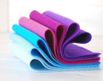 "100% Wool Felt Sheets - ""Blue Velvet Collection"" - 7 Wool Felt Sheets of 8"" x 12"" -  Wool Felt Sheets Bundle - 100 wool felt"