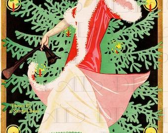 There IS a Santa Claus. Art Deco Digital Flapper VINTAGE  Illustration. Digital Christmas Download. Digital Christmas Card. Printable