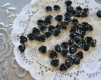 50 Black Goth Roses, Tiny Metal Rose Beads