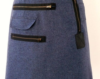 Mini Blue skirt with zippers and pockets Luci Lü