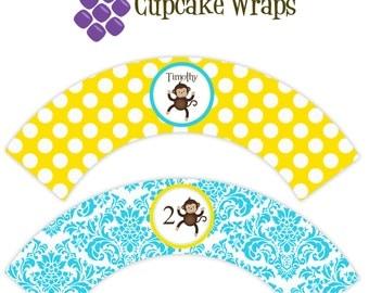 Mod Monkey Cupcake Wrapper - Blue Damask Yellow Polka Dot, Boy Mod Monkey Personalized Birthday Party Cupcake Wraps - Digital Printable File
