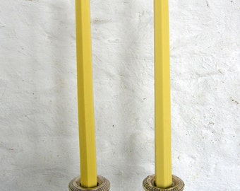Pair Beeswax Hexagonal Cream Taper Candles Hand Crafted By The Beekeeper